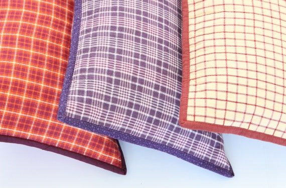 Mulberry Purple Plaid Decorative Throw Pillow
