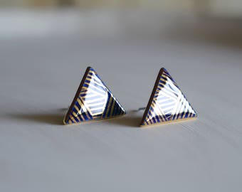 Night blue - triancgle stud post earrings - porcelain and gold jewelry - geometric porcelain long bar earrings