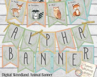 Woodland Animal Banner, Digital Alphabet Garland Woodland Baby Shower Bunting, Nursery Decor, party decoration Fox Deer Raccoon Owl Pennants