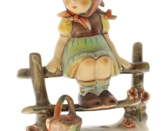 Goebel Hummel Figurine #112 Just Resting A Little Girl on a Fence TMK 5