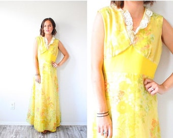 30% OFF SALE Vintage navajo yellow maxi dress // summer floral dress // boho dress // floral floor length summer spring dress // maxi long s