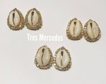 Lola- cowry shell earrings with rhinestones