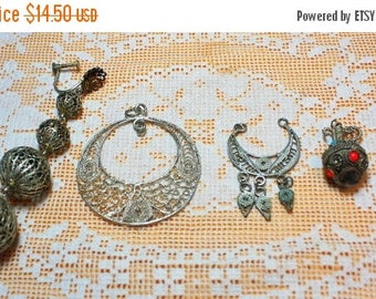 SUMMER SALE Destash Craft Lot of Vintage  Salvaged Silver Cannetille Wirework Jewelry Parts and Pieces