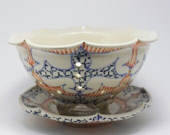 Wheel Thrown Ceramic Handmade Berry Bowl - Small Colander with Sky Blue, Orange and Navy Pattern