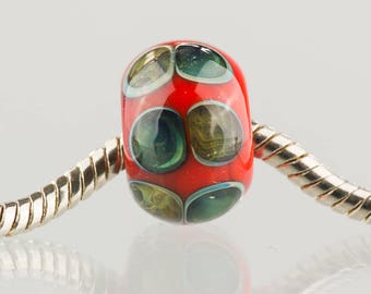 Red with Blue Pearlescent Dots - Big Hole Charm Bead