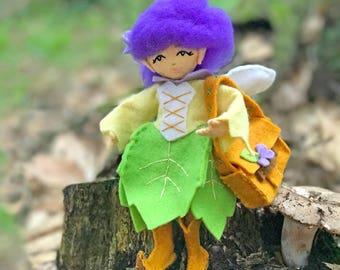 Leaf Dress, Elf Boots and Satchel, Fairy Fashion Kit, Doll clothes Kit, Fairy Dress, Fairy Clothes, Doll Clothes Pattern, Felt Doll Clothes