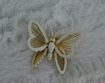 Vintage White & Gold Tone Monet Costume Jewelry Wire Butterfly Scatter Pin or Brooch
