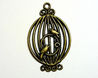 bronze 33x21mm 1 cage and bird charm