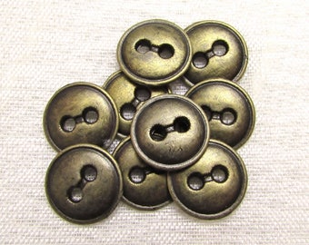 "Simply Sturdy: 1/2"" (13mm) Antiqued Brass Metal Buttons - Set of 9 New / Unused Matching Buttons"