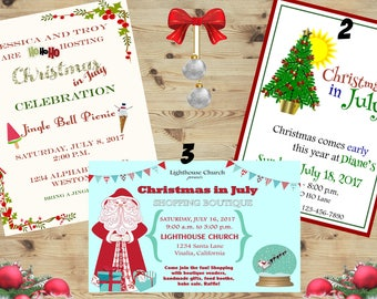 Christmas in July holiday Invitations, Christmas in July Invites, Personalized Jingle mingle. Holiday party custom invite Set of 24