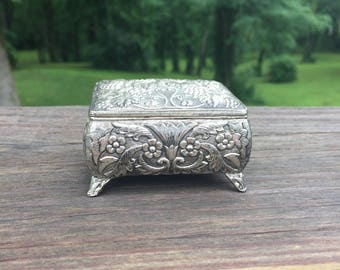 Jewelry Box Ring Box Engagement Ring Box Silver Hinged Box Red Velvet
