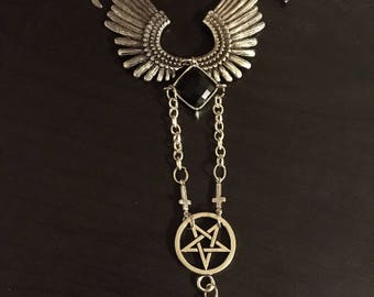 Fallen angel wings necklace with talons pentagram inverted cross