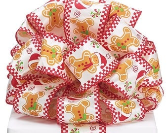 """Ribbon by the yard, Wired 2.5"""" Gingerbread, peppermint candy accents, Christmas, Any Season, Wreath making, Arrangement, Scrap-booking"""