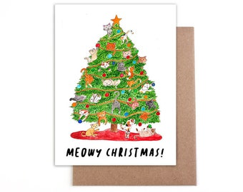 Meowy Christmas cat Christmas card