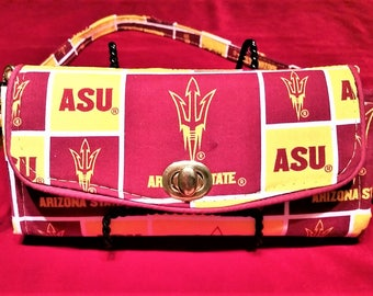ASU Sports Wallet and Watch Combo, Women, Purse, Gifts for Her, Clutch, Crossbody Wallet, Removeable Straps, Over Shoulder Strap