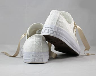 Monochrome White Bridal Converses  --Lace Converse -- Wedding Tennis shoes  - Wedding Converse