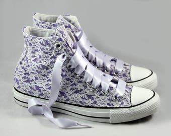 Purple Lace High Top Converses --Purple Bridal Converses -- Wedding Tennis shoes  -Purple Wedding Converse High Top-- Custom Converses