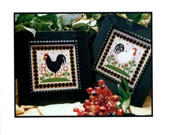 Little House Needleworks: Two Roosters - Cross Stitch Pattern