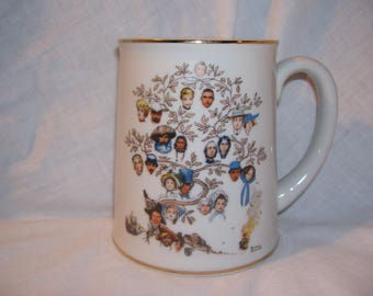 Vintage Norman Rockwell Family Tree First Limited Edition 1981 Musical Mug RARE