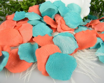 Coral and Ocean Pool Blue Rose Petals Tropical Blend | 200 Silk Artificial Petals | Beach Wedding | Wedding Flower Petals - Table Scatter