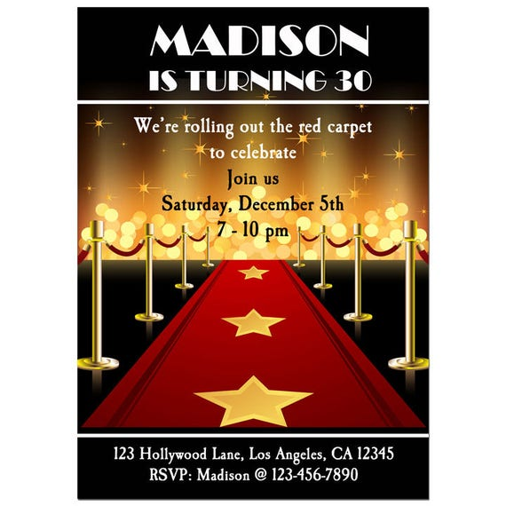 Red Carpet Party Invitation Printable Or Printed With FREE SHIPPING