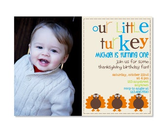 Little Turkey Birthday Invitation with photo