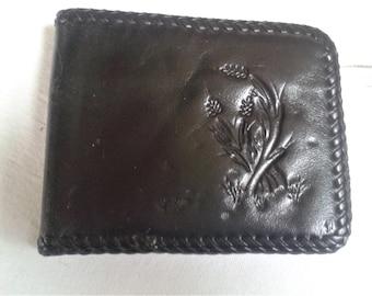 leather wallet, embossed wallet, handmade bi-fold wallet