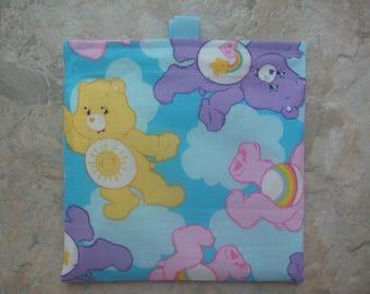 Care Bears Reusable Sandwich Bag, Reusable Snack Bag, Washable Treat Bag with Easy Open Tabs
