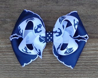 Nautical Boutique Hair Bow~Navy and White Nautical Hair Bow~Basic Hair Bow~Navy and White Hair Bow~Sailor Hair Bow~Navy Boutique Bow