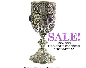 925 Sterling silver, Unique, Wine Goblet, Decorated With Amethyst Gemstones, Yemenite, Filigree, Chalice, Wedding Gift, Holiday Gift ID1753P