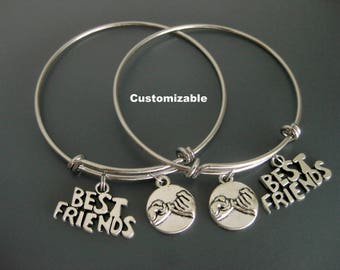 Best Friends Bracelet / Set of Two / Best Friends Bangle /   Pinky Promise Charm Bracelet / Gift for Friend / Adjustable Charm Bracelet /