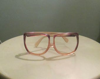 80s Oversized Women Eyeglasses France Lavender Gold Frame