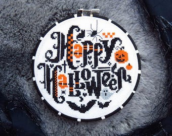 NEW PDF Happy Halloween cross stitch patterns by Lucky Star Stitches at thecottageneedle.com October spider jack-o-lantern bat spooky