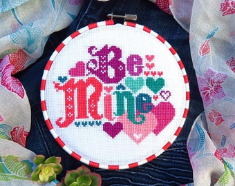 INSTANT DOWNLOAD Be Mine PDF cross stitch pattern by Lucky Star Stitches at thecottageneedle.com Valentine's Day garden sweetheart February