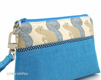 Squirrel Wristlet Wallet - Small Handmade Purse - Blue Pouch - Travel Makeup Case - Woodland Gift for Teen - Squirrel Purse - Ready to Ship