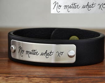 Custom Handwriting Bracelet, Real Handwriting Bracelet - Your real handwritten message engraved into Stainless Steel and Leather Bracelet