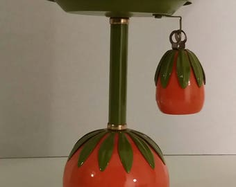 Vintage Mid Century Tole Candle Holder Candlestick with Snuffer 2 pc Enamel