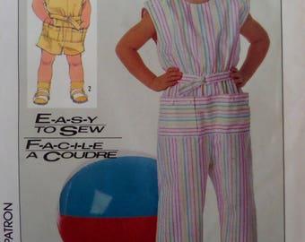 SHOULDER BUTTON ROMPER Pattern • Simplicity 7410 • Childs 3 • Retro Belted Jumpsuit • Sewing Patterns • Childrens Patterns • WhiletheCatNaps