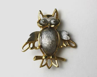 Vintage Silver and Gold Owl Brooch (E8641)