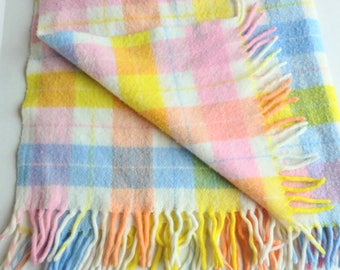 Baby Blanket with Fringe in Pink, Yellow, Blue, Peach and White Tartan Plaid Acrylic