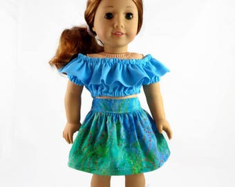 18 inch Doll Clothes, Peasant top and skirt designed to fit like American Girl® doll clothes Summer outfit