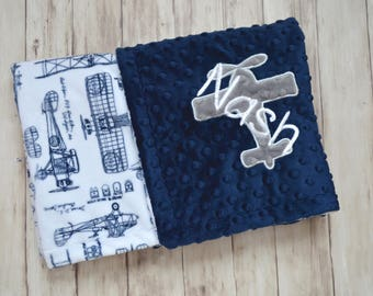 Monogrammed Baby Blanket, Minky Personalized - Vintage Airplane Baby Blanket, Navy Blue, and White Plane Blanket with Name Newborn, Soft