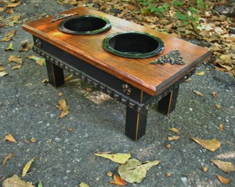 Elevated Dog Bowl Feeder, Black Melamine Bowls, Old English with Black Feeding Station, Cottage Chic Style Made To Order