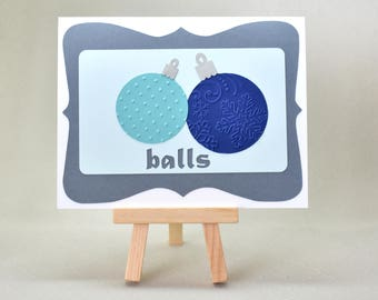 Handmade Greeting Card - Cut out Christmas Ball Ornaments with cut out lettering and frame - blank inside - Christmas or  Hanukkah Cards