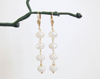White Sapphire earrings, Dangling gemstone earrings, Two Girls Gems