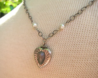 Vintage Stering Heart Locket on Sterling with Labradorite and Pearls, Two Girls Gems