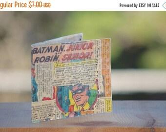 Back To School Sale 1966 Batman wallet recycled vintage comic book hand sewn comics billfold gift geeks boyfriend girlfriend handmade batman