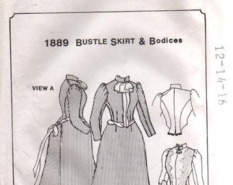 1889 Bustle Skirt and Bodice Pattern #490 by Period Impressions