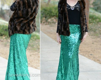 Ship 2/27* 10% OFF! Emerald Maxi Mermaid Skirt- Gorgeous high quality sequins- Long sequined skirt -Custom or S, M, L, XL