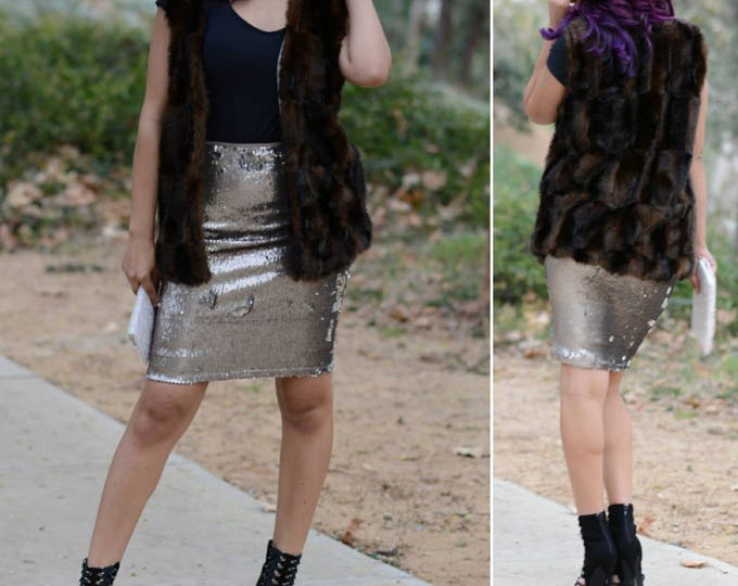 Free Shipping! Matte Gunmetal Flip Sequin Skirt - Stretchy, beautiful knee length skirt (S,M,L,XL)  Ships asap! Runs bigger.